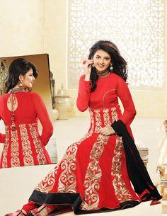 Enigmatic Salsa Red Salwar Kameez | StylishKart.com