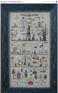 Halloween cross stitch pattern by The Primitive Needle.  Loved Lisa Roswell's stuff- she left quite a legacy.  So miss her.