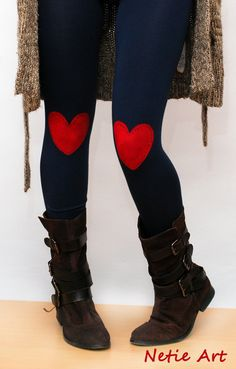 Red heart patched leggings in navy by NetieArt on Etsy