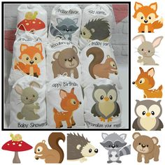 9 Forest Woodland Animals Favor bags Baby Shower and Birthday's for treats and gifts Personalized X or X Set of 9 bags per order Baby Shower Gifts For Boys, Birthday Gifts For Girls, Friend Birthday, Baby Shower Favors, Baby Shower Themes, Baby Boy Shower, Boy Birthday, Shower Ideas, Happy Birthday