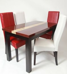 5 Piece Artificial Burgundy Marble Dining Set , Table with 4 Chairs | Have some fun with your friends and family with this graceful dining table sets. Marble dining set with a unique personality that is full with possibilities. Colorful red and white chairs will brighten up your dining room specially accompanied with the great faux marble table.