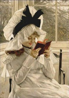 """Reading a Book"" / James Tissot (1836-1902) / Private Collection...that's a hat!"