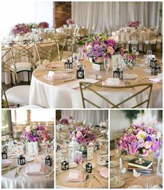 Low pink and purple wedding centerpieces at wedding reception with champagne and blush linen using chameleon chairs.