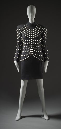 Dress, Patrick Kelly, ca. 1989, French, wool knit with faux pearl trim