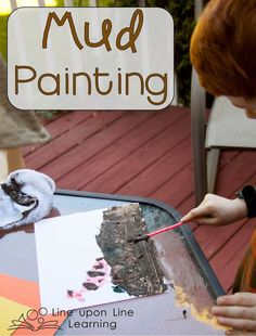 """After reading """"I'm a Dirty Dinosaur"""" (which has the dinosaur painted in actual MUD) we decided to do our own mud painting project! Perfect summer messy activity."""