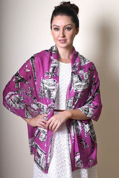 Anika Dali - Women's Bonjour Paris Scarf / Shawl (ORCHID), Fashion Scarves, Gifts for Her, Stocking Stuffer, Women's Gifts, Unique Gift Ideas by ANIKADALI