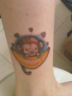 cceed8f58f986 Baby monkey with banana ankle tattoo for girls. Ankle Tattoo For Girl,  Ankle Tattoo