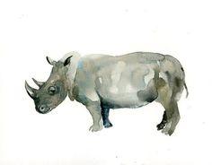 RHINO  Original watercolor painting 10X8inch