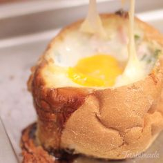 Stuffed Bread With Ham Cheese And Egg recipe