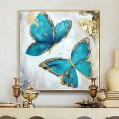 Gold blue butterfly acrylic painting on canvas abstract wall art c . Gold blue butterfly acrylic painting on canvas abstract wall art pictures for living room texture quadro caudro home decoration Butterfly Acrylic Painting, Butterfly Canvas, Oil Painting Abstract, Abstract Wall Art, Acrylic Painting Canvas, Painting Frames, Blue Butterfly, Acrylic Art, Texture Painting On Canvas