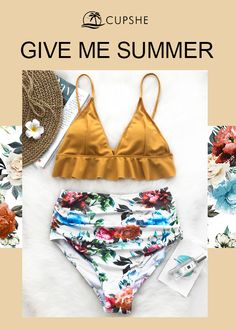 This fabulous bikini will definitely be the eye-catcher! This style features yellow triangle top with cute falbala details, and colorful rose-print high-waisted bottom. Provide you a more fashion beach look with comfy fit.