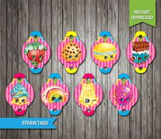 90% OFF SALE Shopkins Straw Tags instant download by Partiez