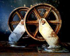 Vintage Industrial Factory Cart Casters by Laguna Gardenworks, via Flickr