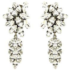 Crystal Cluster Drop Earrings ($369) ❤ liked on Polyvore featuring jewelry, earrings, pearl drop earrings, ben amun jewelry, pearl jewelry, white pearl earrings and white pearl drop earrings