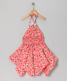 Take a look at this Coral Floral Polka Dot Handkerchief - Toddler & Girls by Lele for Kids on #zulily today!