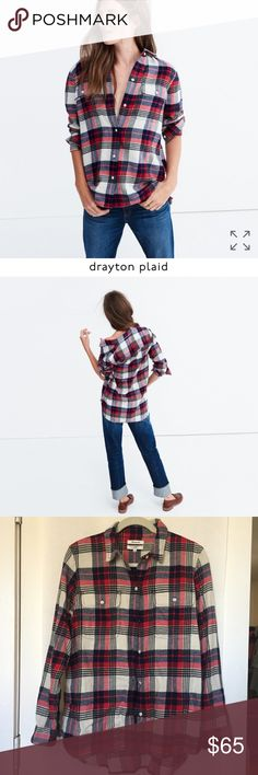 flannel classic ex-boyfriend shirt drayton plaid flannel classic ex-boyfriend shirt in drayton plaid - siZe L.   PRODUCT DETAILS Our signature plaid tomboy button-down in a supercozy double-brushed flannel that's soft inside and out. Ex-boyfriend shirt, next-boyfriend attitude.  True to size. Cotton. Machine wash. Import. Item F7867. Madewell Tops