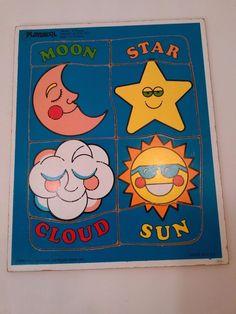 Vintage Playskool THINGS IN THE SKY Puzzle 186-05 8 pcs 1-3 years 1986 Star Sun #playskool