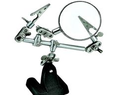 Third Hand Cast Iron Jewellerry Clamp Tool with Magnifier and Alligator Clips. Includes 2 alligator spring clips and a Inch Diameter magnifying glass. 8 ball joints to hold objects at any angle. Leaves hands free for jewelry assembly or repai. Hand Jewelry, Jewelry Tools, Jewelry Making Supplies, Craft Supplies, Jewlery, Glass Supplies, Clamp Tool, Bracelet Holders, Hobby Tools