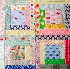 chick chick sewing: Recent makes (scrappy log cabins) ♪はぎれでログキャビン・サンプラー♪