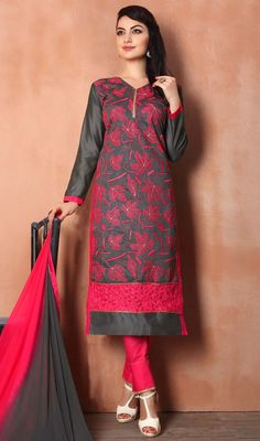 Strut boldly like the peacock donning this black color embroidered chanderi pant style dress. Beautified with lace and resham work. #patchworkdresses #floralpatchsuits #casualonlinedress