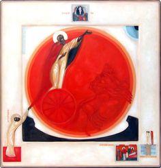 Obraz WNIEBOWZIĘCIE PROROKA ELIASZA (w klejmach: PROROK ELIZEUSZ, WSKRZESZENIE SYNA WDOWY Z SAREPTY, ELIASZ Z ELIZEUSZEM NAD JORDANEM, PRZEMIENIENIE PAŃSKIE) - Artysta Greta Maria Leśko