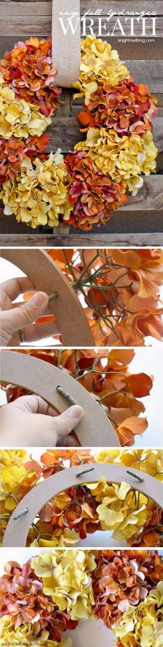 Easy Fall Hydrangea Wreath.