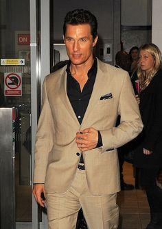 Tan Suit with black shirt