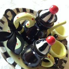 Mary Engelbreit Me Mini Miniature Tea Set Polka Dot Cherries | eBay