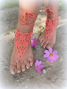 Hand crochet barefoot lace sandals in peach color made of pure acrylic yarn