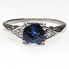 Would love this as a 10 year anniversary present! Vintage Natural Blue Sapphire & Single Cut Diamond