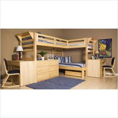 Kids Bunk Beds: Triple Bunk Beds - University Loft Triple Lindy