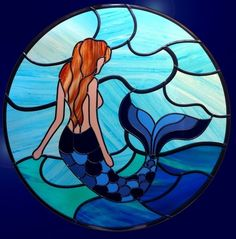 Stained Glass Windows Etc Custom Stained Glass, Faux Stained Glass, Stained Glass Designs, Stained Glass Panels, Stained Glass Projects, Disney Stained Glass, Mermaid Glass, Mermaid Art, Mermaid Quilt