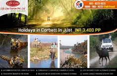 Life Line Tourism Provide Corbett Tour Packages at INR 3400 Per Person Include: Accommodation + Meals + Sightseeing more: http://www.lifelinetourism.com/Jim-Corbett-Tour/ •	Accommodation for 2 Nights & 3 Days  •	2 Breakfast 2 Lunches & 2 Dinners at Hotel •	Every night Bone Fire with Guitarist •	Welcome Drink on Arrival •	Every night Wild Life Show •	Nature Walk with experienced Guide