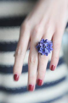 Lilacblue flower ring Flower wedding ring Bridal by Htozkaya