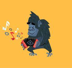 Ape on accordion