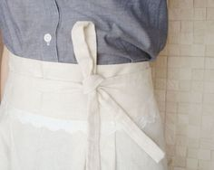 Natural Beige Linen Cafe Apron with Lace detail by project129