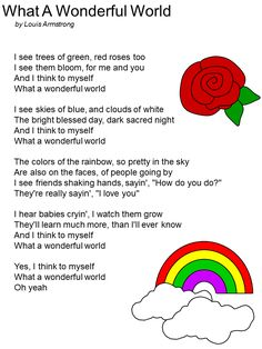 """One of my MOST favorite songs! Printable Lyrics to """"What a Wonderful World"""" by Louis Armstrong Great Song Lyrics, Songs To Sing, Music Lyrics, Kindergarten Songs, Preschool Songs, Music Activities, Preschool Graduation Songs, Bonding Activities, Therapy Activities"""