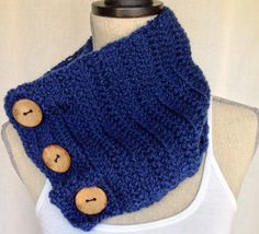 Crochet Cowl Neck Warmer Scarf - Brittlestar Blue Short Ribbed Yarn with Coconut Buttons on Etsy, $45.00 CAD