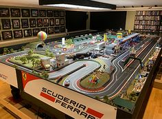 Check out these awesome slot track layouts from our customers. Slot Car Race Track, Slot Car Racing, Slot Car Tracks, Slot Cars, Race Cars, City Model, Model Train Layouts, Model Trains, Game