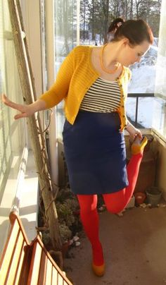 Sailor stripes. Top & shoes Vila, cardigan & stockings Seppälä. skirt & beads from a flea market.