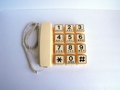 Vintage Phone Webcor Zip 1980s Jumbo Button Telephone Retro Big Button Phone Cream and Brown Large Numbers