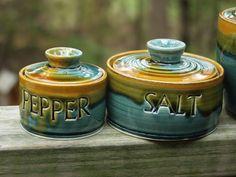 Salt and Pepper Lidded Jar Set Spice jars Ready by KbOriginalsetc