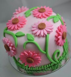 Pretty flower cake - For your cake decorating supplies, please visit craftcompany Pretty Cakes, Beautiful Cakes, Amazing Cakes, Rolo Cupcakes, Cupcake Cakes, Keks Dessert, Super Torte, Birthday Cake With Flowers, Flower Birthday