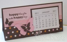 1/11/2011; Diane Barnes at 'colour me happy' blog; various calendar designs with matching post-it-note books; link to instructions; the calendars fold so they can stand up by themselves & fold flat for posting.