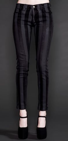 Lip Service Black Needle Stripe Skinny Jeans