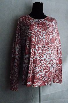 Orvis Womens Pullover Stretchy Knit Top 100% Cotton Floral Orange Size Large