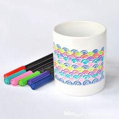 CERAMIC BRUSH PENS Spring Colors. Coloring ceramic. por Biterswit