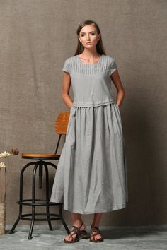 Gray Linen Dress - Short Sleeved Loose-Fitting Spring Summer Casual Comfortable Day Dress Plus Size C543