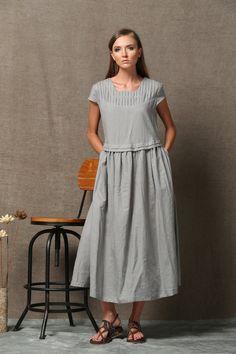 Szary Pościel Dress - krótki rękaw luźny wiosna Casual Dress Komfortowy Dzień plus size C543