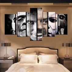 Horror Movie Wall Art Canvas Print Decor, Home theater design, Home Decor Wall Art, Nursery Wall Art, Canvas Wall Art, Nursery Decor, Bedroom Decor, Painting Canvas, Canvas Prints, Bedroom Ideas, Horror Themes